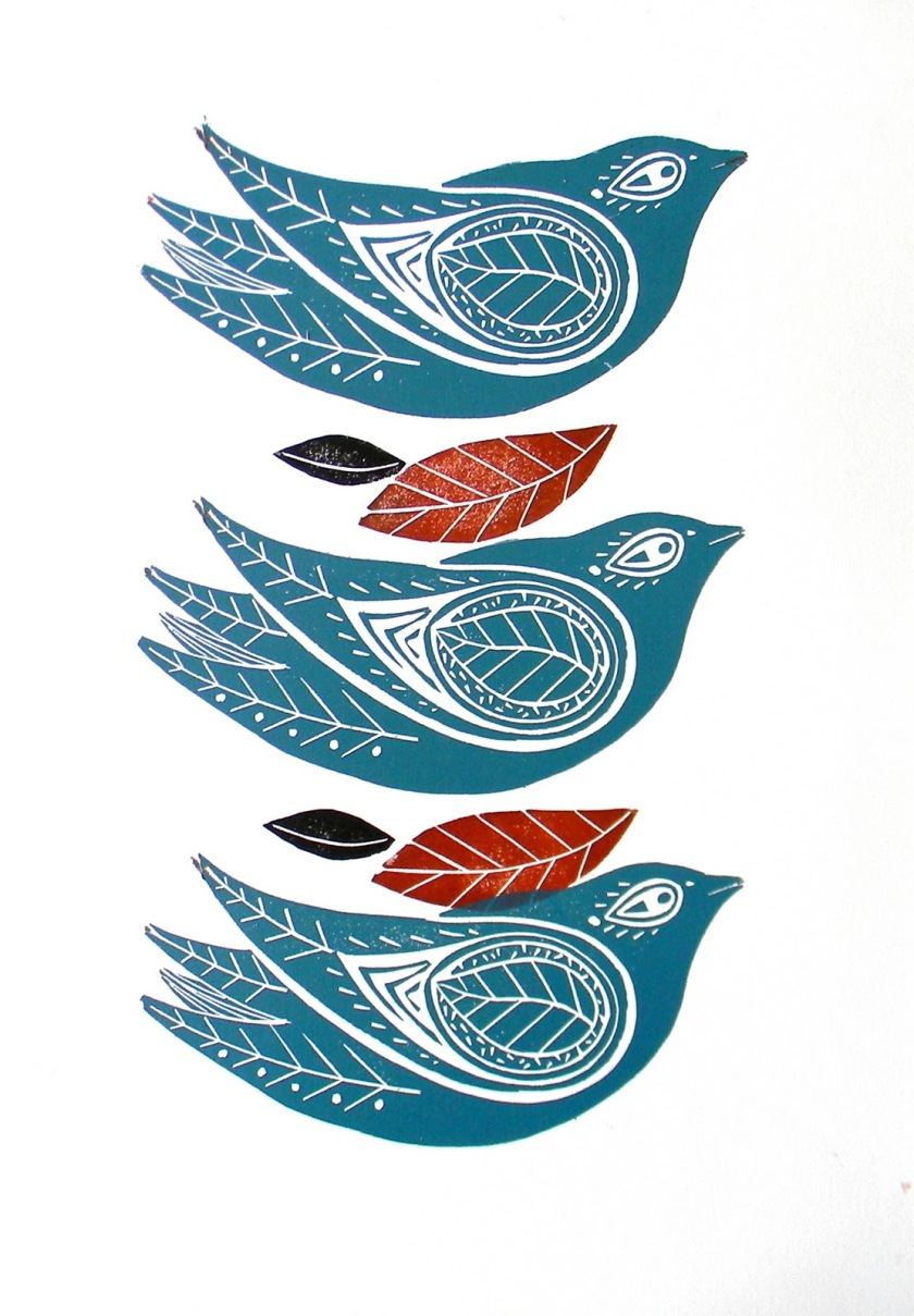 Amanda Colville - 3 Winter Birds - Mangle Print - 2011