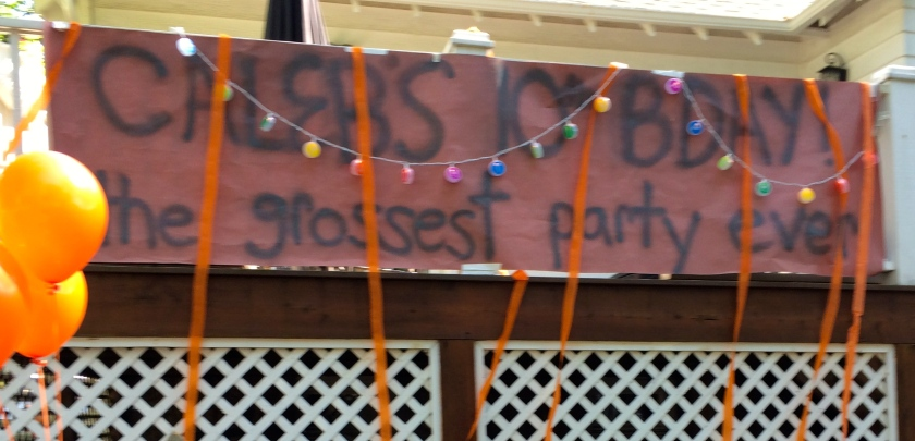 C had The Grossest Party ever.  Pinning boogers on the nose, food fights, tomato smashing.  Still recovering.