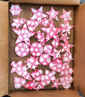 Lots of peppermint ornaments made for Greta's Christmas Craft Sale to Help the Homeless 2014.