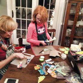 Z and Grammy made lots of birdy ornaments for the Christmas Craft Sale to Help the Homeless.