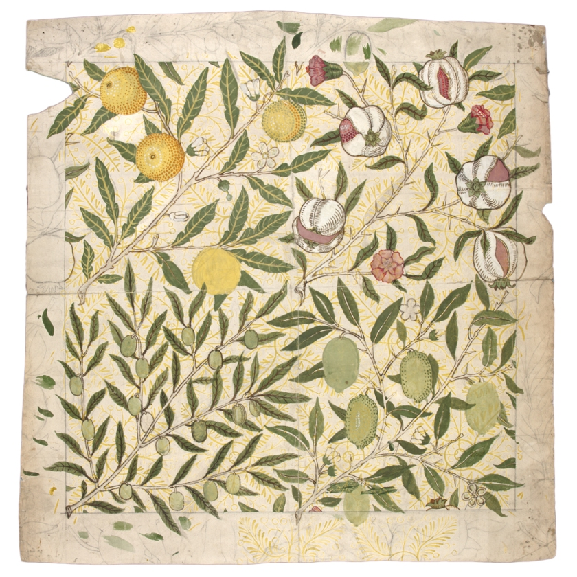 Fruit design by William Morris, 1862.