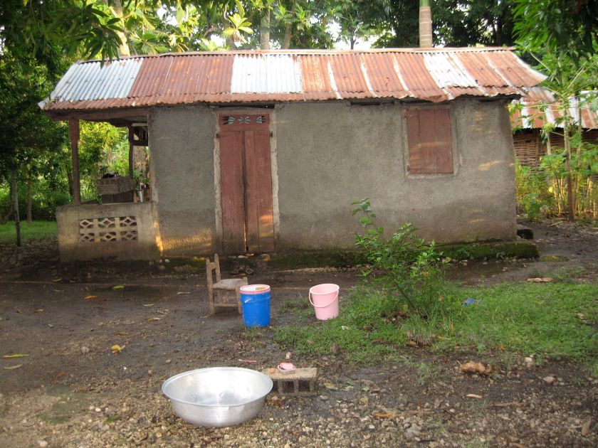 This is a typical house in Haiti.  It's about the size of a 1.5 car garage.  Five people live in it.