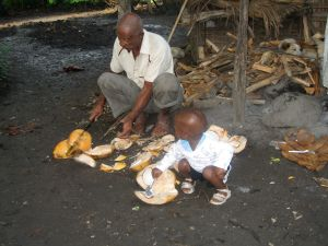 man and child eating