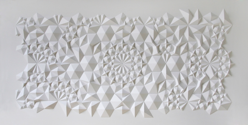 Matt Shlian - geometric paper sculpture - 14 x 8 feet - 2012 - Levi's Install Union Square SFC