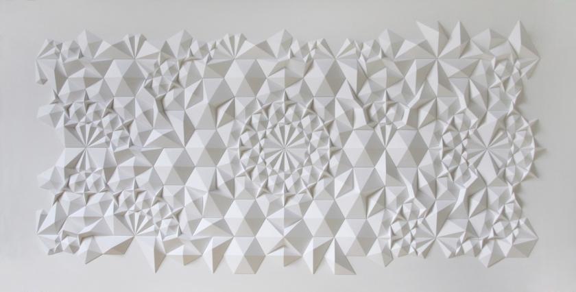 Matt Shlian - geometric paper sculpture - 14 x 8 feet - 2012 - Levi's Install Union Square SFC