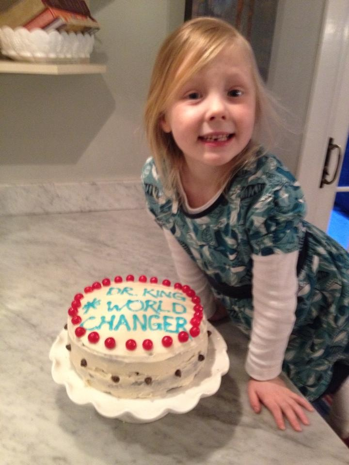 She was so proud of this cake.