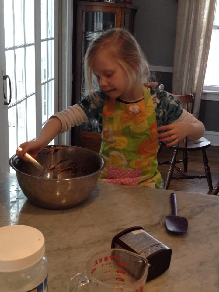 Greta singing while making a cake for Dr. Martin Luther King, Jr.  January, 2014