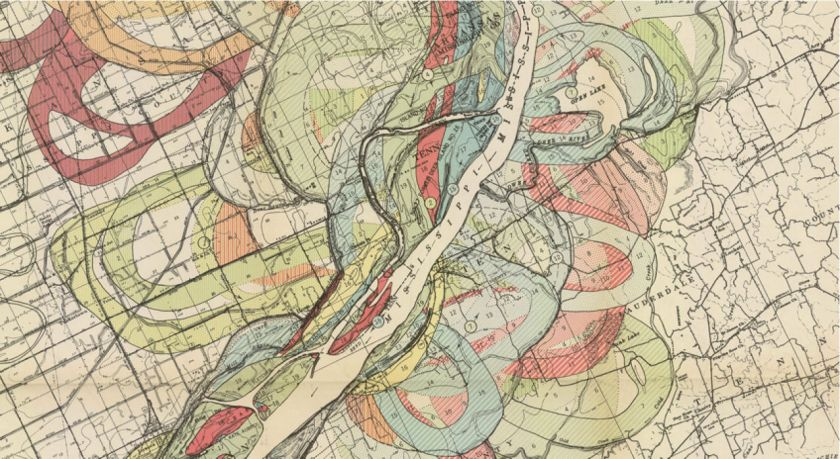 http://www.fastcodesign.com/1665126/gorgeous-vintage-floodplain-maps-that-look-like-modern-art In 1944, a cartographer named Harold N. Fisk commissioned an epic study of the Lower Mississippi River, charting its ebbs and flows over time.