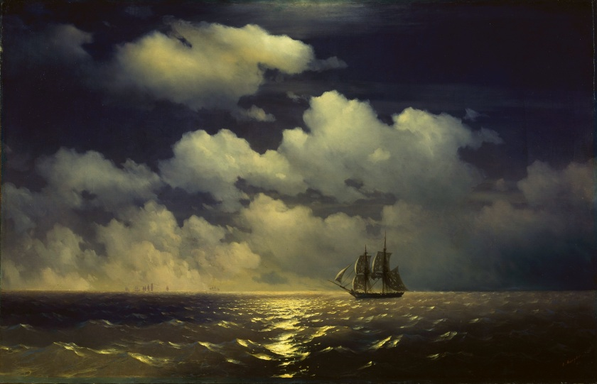 """The brig Mercury encounter after defeating two Turkish ships of the Russian squadron"" - Ivan Konstantinovich Aivazovsky - 1848 - via wikipedia.org"