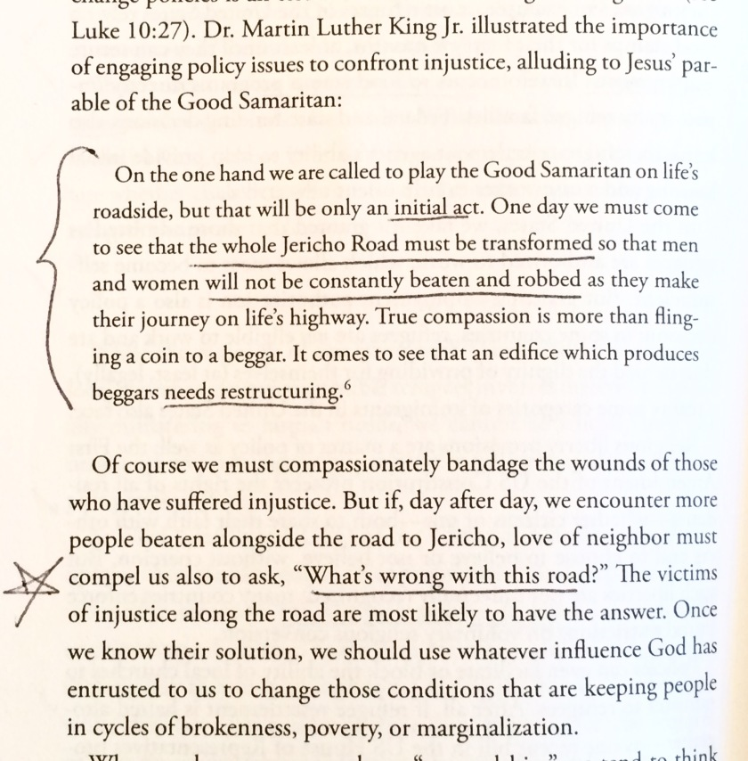 """""""One day we must come to see that the whole Jericho Road must be transformed so that men and women will not be constantly beaten and robbed as they make their journey of life's highway."""" - Martin Luther King, Jr. From """"Seeking Refuge"""" pg. 170."""