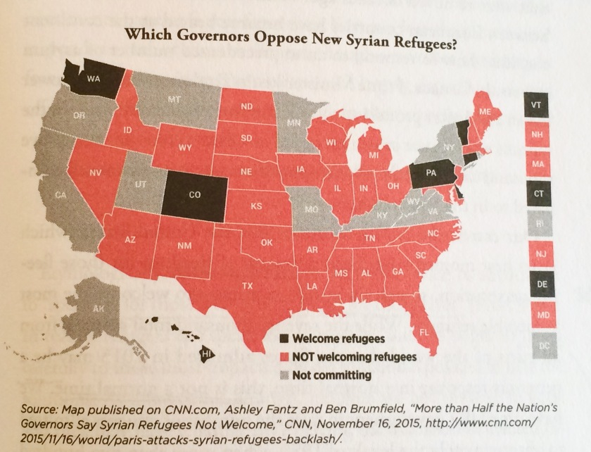 "Which Governors Oppose New Syrian Refugees? 11/16/15 from ""Seeking Refuge"" pg. 173. Used with permission. (Does this map surprise you? Make you feel safe? Make you feel distressed?)"