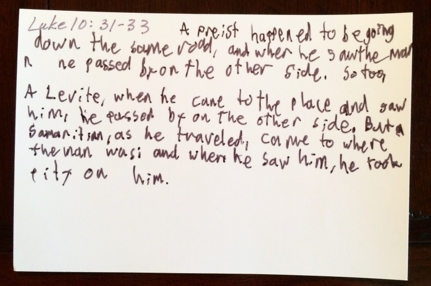 The religious people ignored the half-dead person. They made effort to get far away on the other side. I've done that. I do that. (transcribed by Caleb)