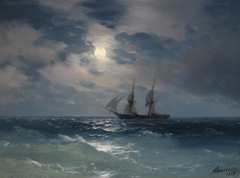 """The Brig Mercury in Moonlight"" - Ivan Konstantinovich Aivazovsky - 1874 - via sothebys.com"