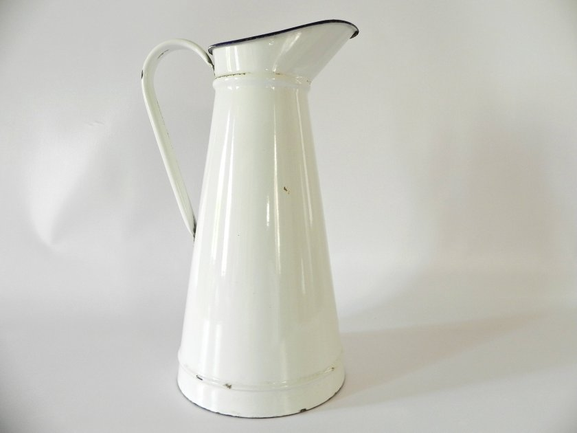 french-white-enamel-pitcher