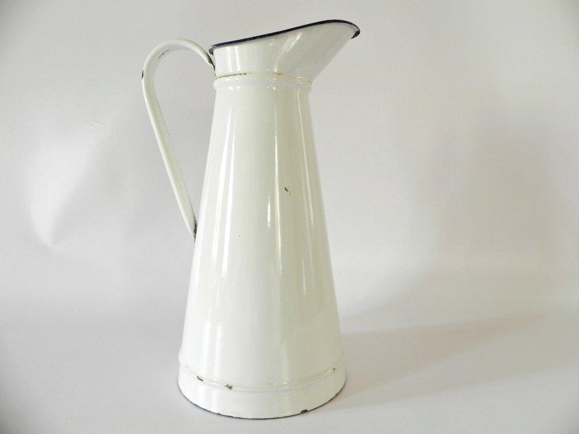 french-white-enamel-pitcher